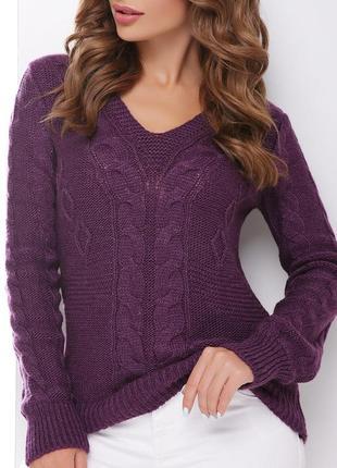 Вязаный повседневный женский фиолетовый джемпер/свитер с v-вырезом