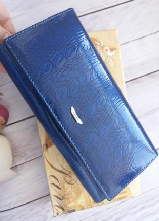 Стильный кожаный кошелек лаковый из натуральной кожи шкіряний гаманець жіночий женский