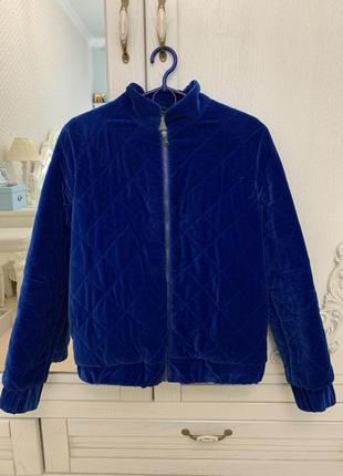 Бархатная курточка - бомбер синего цвета, размер xs-s