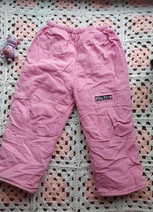 Тёплые вельветовые штанишки на девочку 1-1.5 года