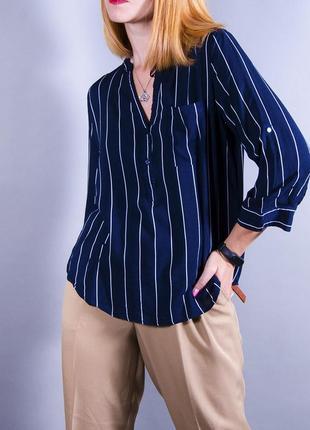 Женская рубашка, свободная блуза, синяя рубашка оверсайз, блуза в полоску