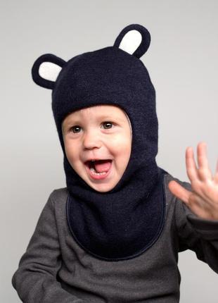 Шапка зимняя теплая шлем для мальчика мишутка