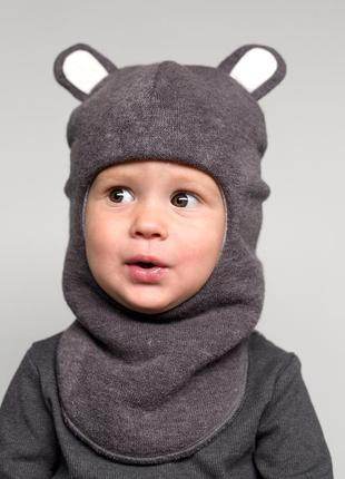 Шапка зимняя тёплая шлем мишка на мальчика