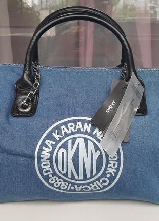 Стильная брендовая джинсовая джинсовая сумка dkny.