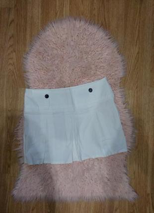 Белая летняя юбка солнце,плиссированная хлопковая юбка,спідниця