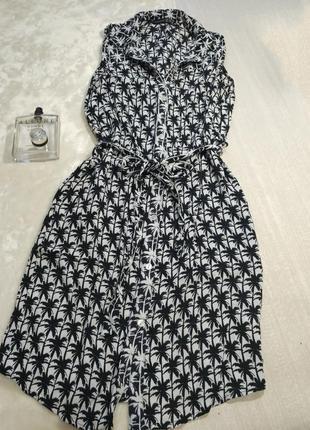 Платье рубашка с принтом пальмы. халат. платье с поясом