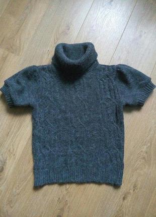 Тёплый гольф с коротким рукавом topshop, вязанный свитер с косами, свитер с воротником