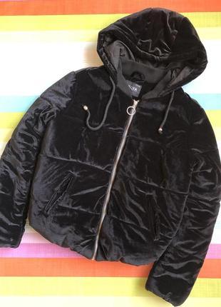 Дутая бархатная куртка new yorker/чёрный тёплый бархатный бомбер