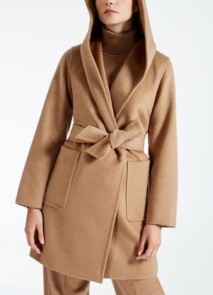 Классика шерстяное пальто халат бежевое camel в стиле max mara