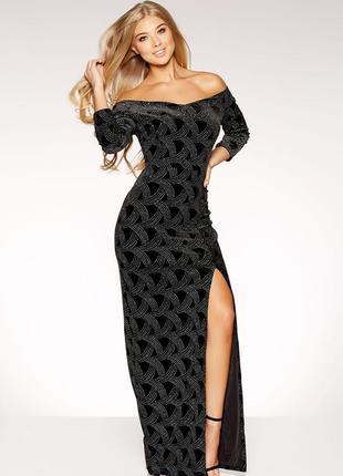 Длинное вечернее бархатное блестящее платье макси с открытыми плечами