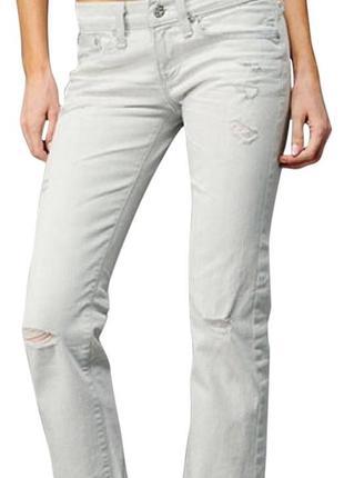 Новые джинсы бойфренды рваные бело-серые w26 l34 *adriano goldschmied*