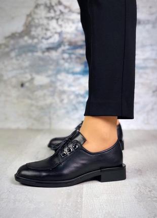❤невероятные женские стильные черные кожаные туфли на шнуровке на низком каблуке ❤