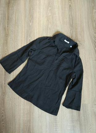 Черная льняная блуза рубашка лён от massimo dutti