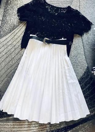 Белая юбка миди плиссе гафре
