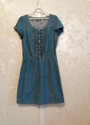 Джинсовое платье с рюшами  lerros