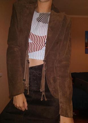 Замшевый женский пиджак (100% замша)