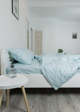 Мятное постельное белье из натурального  страйп-сатина