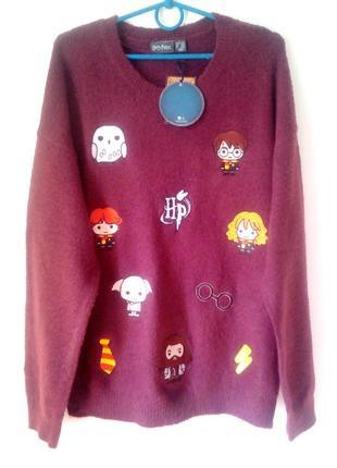 Бордовый свитер, свитер с нашивками, джемпер демисезонный