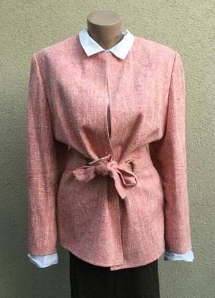 Жакет под пояс,пиджак,блейзер,шелк 100%,большой размер,швейцария,люкс бренд