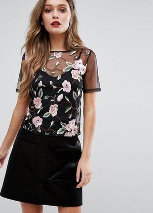 Черная блуза сетка с вышивкой цветы