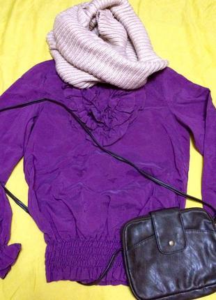 Яркая итальянская блузочка с жабо,блуза в подарок