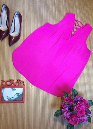 Шикарная блуза без рукавов с шнуровкой сзади,размер l