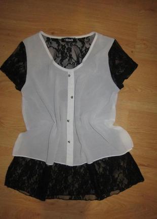 Шифоново-кружевная блуза от yendi 44 с