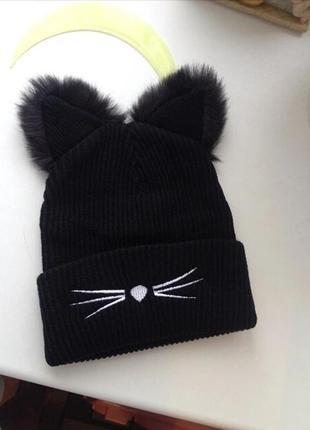 Шапка котик с меховыми ушками черная кот