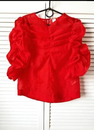 Сочная,шифоновая блузка органза жоржет с рукавами на резинке