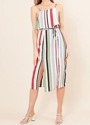 Новое стильное платье в полоску с разрезами миди