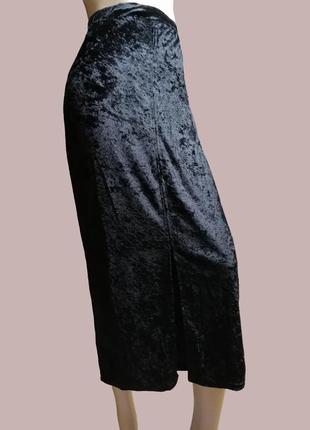 Бархатная черная юбка миди франция