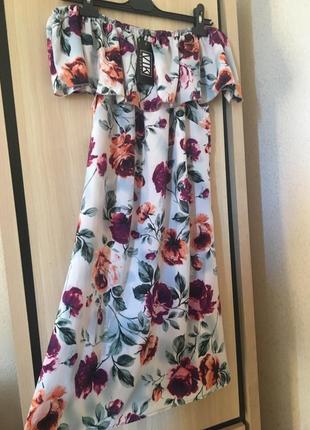 Платье цветочный принт миди с воланом рюшей цветастый сарафан