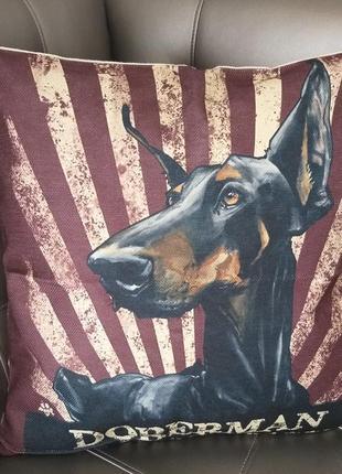 Декоративная наволочка собака порода доберман doberman декор