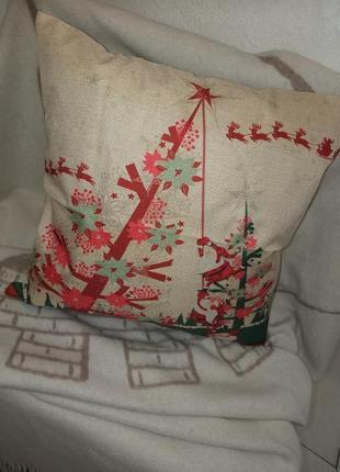 Декоративная новогодняя наволочка merry christmas рождество новый год дед мороз елка