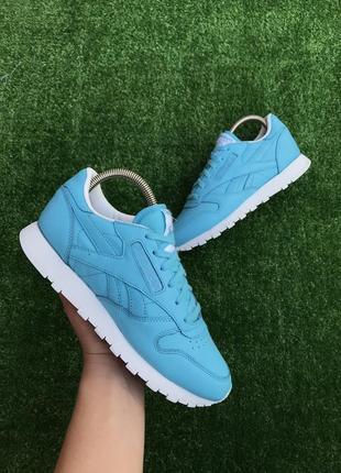 Женские кожаные кроссовки reebok classic blue