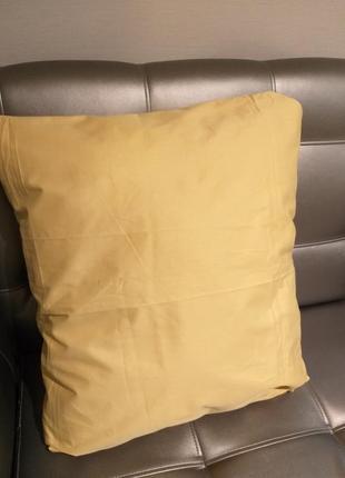 Наволочка золотистая 50×50 см однотонная ткань сатин хлопок постель