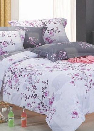Наволочка серая 50×50 см ткань ранфорс сакура хлопок постель