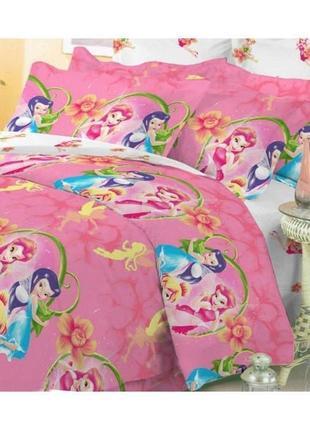 Наволочка детская розовая 70*70 см фея динь-динь хлопок поплин