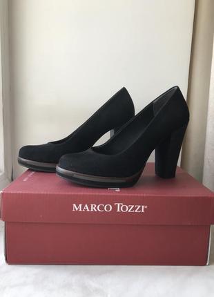 Туфли замшевые черные marco tozzi