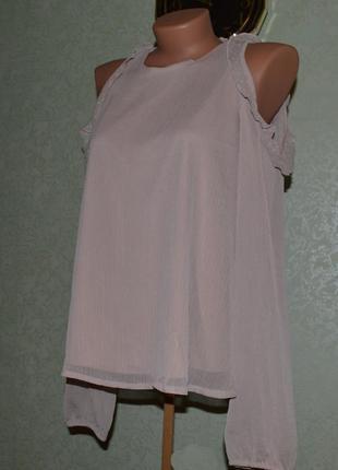 Блуза кофточка / с вырезами плеч / цвета кофе с молоком / текстурный шифон, 38/12
