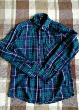 Рубашка в клетку h&m в деним оттенках