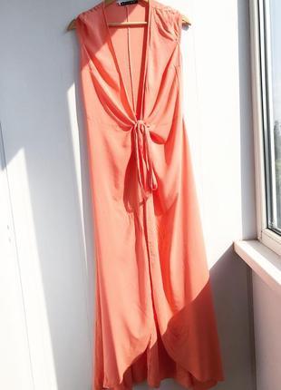 Персиковая свободная накидка на завязку s-m размер платье макси