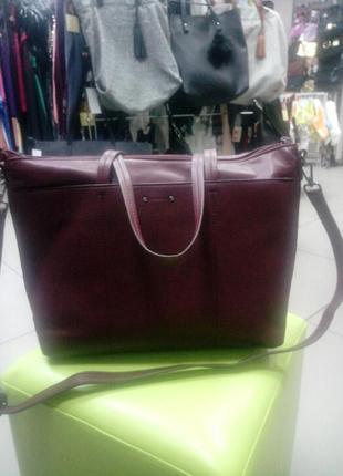 Сумка, женская, портфель, бордового цвета, динный ремешок