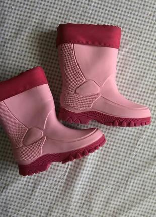 22 (до 14 см) розовые резиновые сапоги с теплым сьемным носком