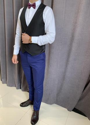 Сині класичні завужені брюки