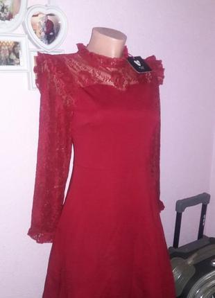 Новое плать гипюр оборки хит сезона  цвет бордо