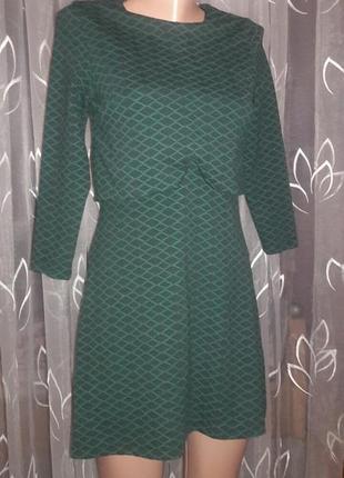 Теплое платье зеленое  на молнии