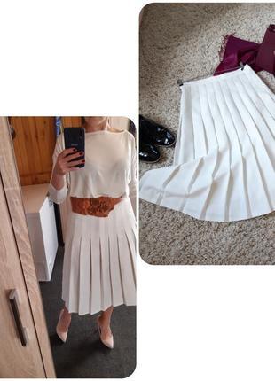 Стильная юбка миди плиссе, белая, р. 40-42