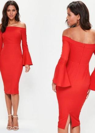 Облегающее платье миди с открытыми плечами2 фото