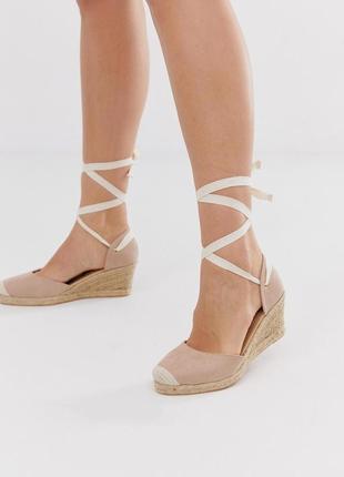 Туфли босоножки на плетеной платформе эспадрильи с завязками london rebel